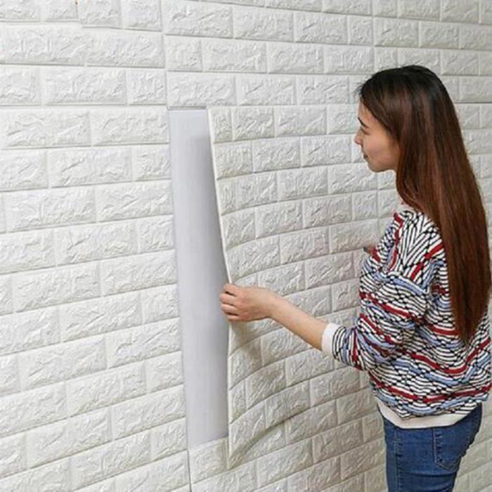 10 pcs 70cm*77cm 3D relief Sticker Autocollant Papier Peint brique blanc 3D Revetement Mural