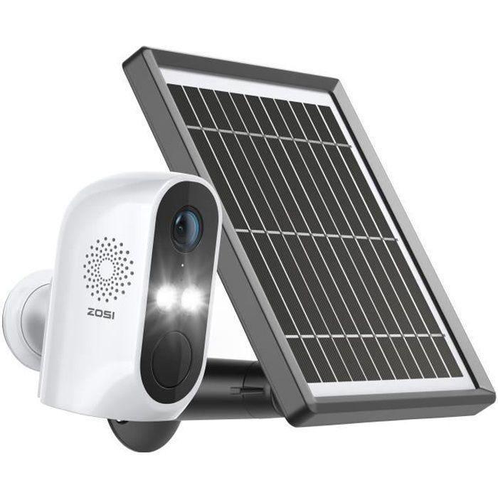 ZOSI C1 Caméra de Surveillance WiFi avec Batterie Rechargeable 6700mAh et Panneau Solaire pour Alimentation Non-Stop