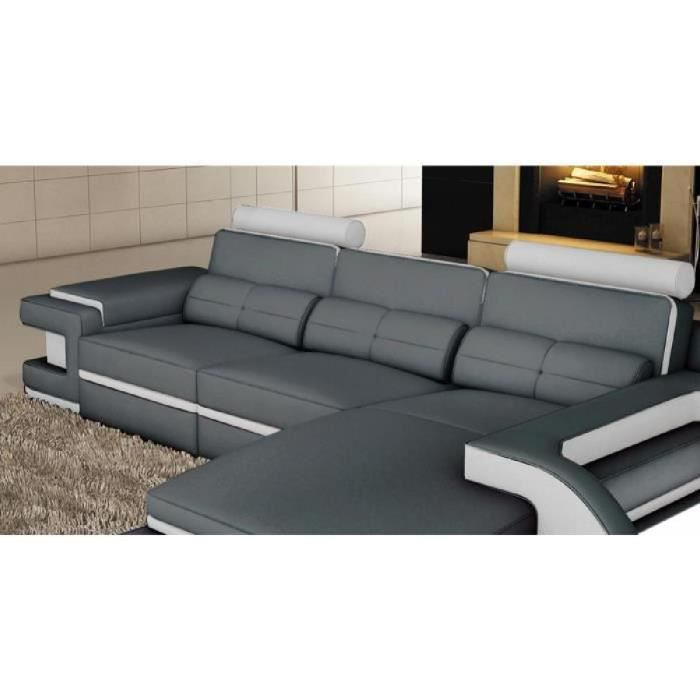 Attractive Canape Angle Cuir Gris 4 Canap Sofa