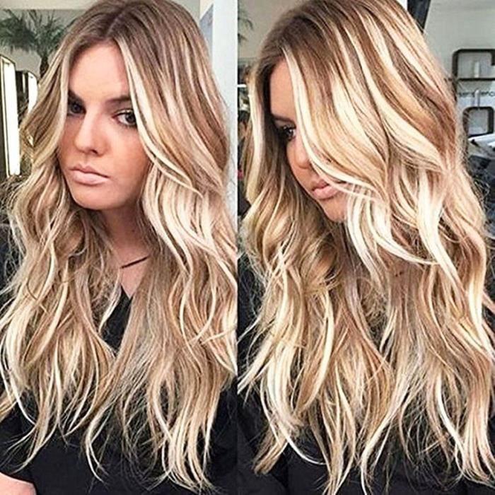 ColorfulPanda Perruques blondes pour femmes 32 Pouce Longue Boucl/é Femmes Boucl/é Perruques L/éger Blond