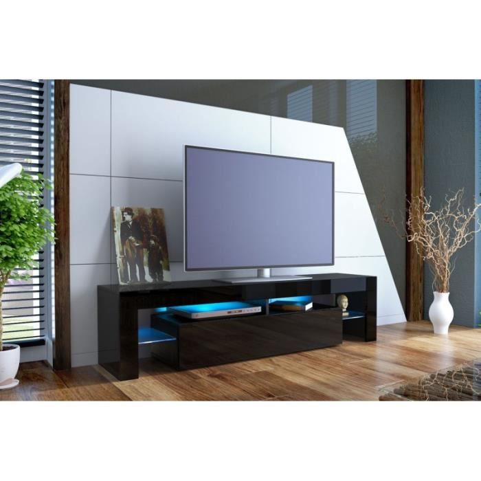 meuble tv design laqu noir sans led achat vente. Black Bedroom Furniture Sets. Home Design Ideas