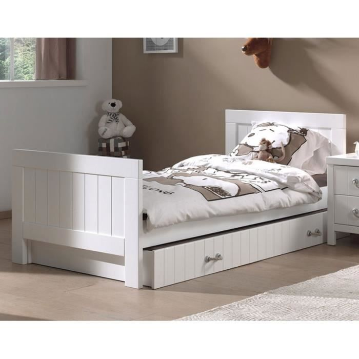 chambre enfant compl te en pin massif blanc laqu marin. Black Bedroom Furniture Sets. Home Design Ideas