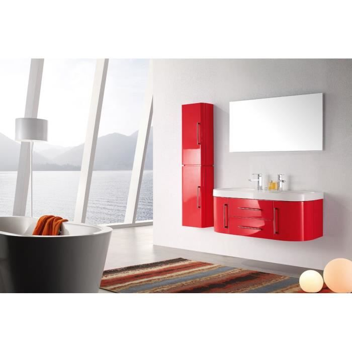 meuble salle de bain double vasque rouge laqu brillant 120 cm mia rouge achat vente salle. Black Bedroom Furniture Sets. Home Design Ideas