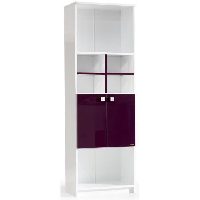 biblioth que design blanc et mauve laqu e 2 portes achat vente biblioth que biblioth que. Black Bedroom Furniture Sets. Home Design Ideas