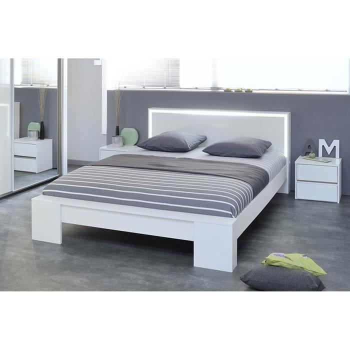 lit design 180 cm blanc weston achat vente structure de lit cdiscount. Black Bedroom Furniture Sets. Home Design Ideas