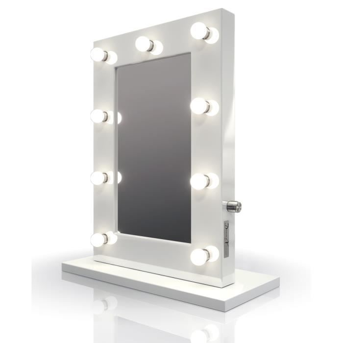 Miroir hollywood blanc achat vente miroir hollywood for Grand miroir dore pas cher