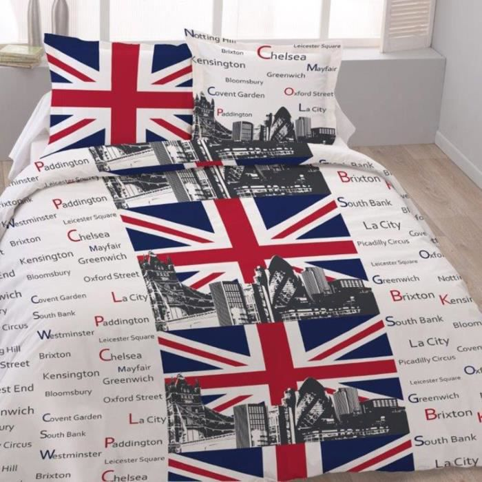 Housse de couette 220x240 london tower 2 taies 1 achat for Housse de couette london 1 personne
