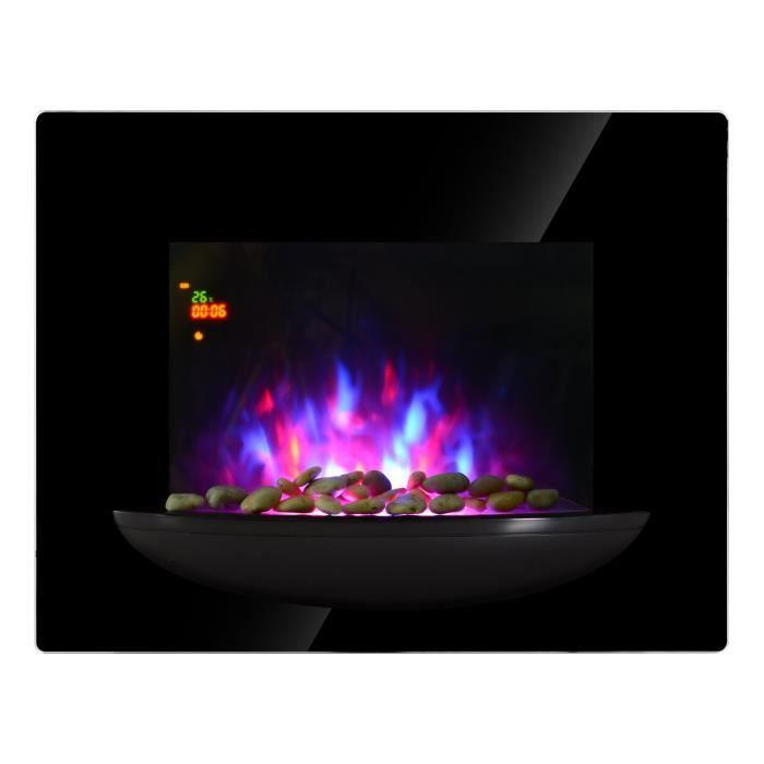 Cheminée Électrique Chauffage d´Appoint Thermostat LED Télécommande 2000W Noir
