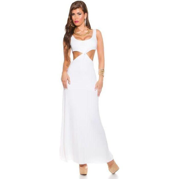 Robe Longue Blanche Dos Nu Blanc Blanc Achat Vente Robe Cdiscount