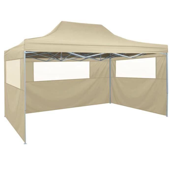 TENTE DE CAMPING Tente pliable avec 3 parois 3 x 4,5 m Crème