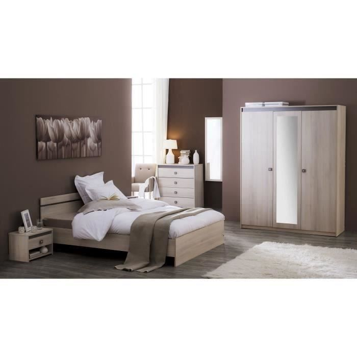 lit adulte 140x190 cm acacia basalte francesca moncornerdeco. Black Bedroom Furniture Sets. Home Design Ideas