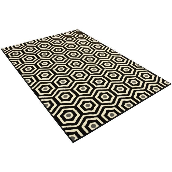 tapis salon moderne hexagones noir blanc universol achat vente tapis cdiscount. Black Bedroom Furniture Sets. Home Design Ideas