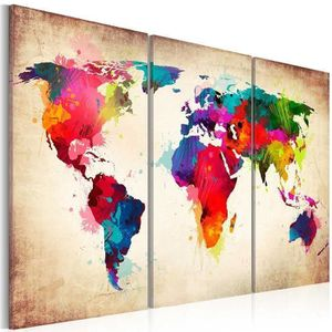 toile murale carte du monde achat vente toile murale carte du monde pas cher cdiscount. Black Bedroom Furniture Sets. Home Design Ideas