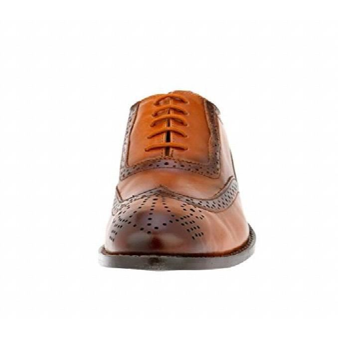 Liberty Handmade Leather Classic Brogue Wing-tip Lace Up Perforated Toe Dress Oxford Shoes DJCR3 Taille-47