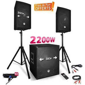 PACK SONO Pack sonorisation 2200W - Enceintes + Caisson + Pi