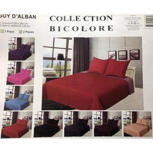 JETÉE DE LIT - BOUTIS Boutis Couvre-lit piqué bicolore 230x250 cm + les