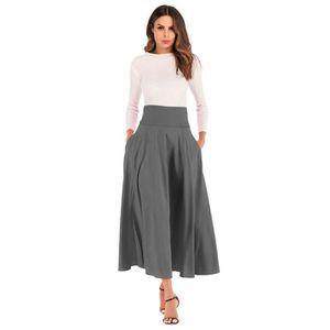 JUPE Femmes taille haute plissée jupe longue ligne jupe
