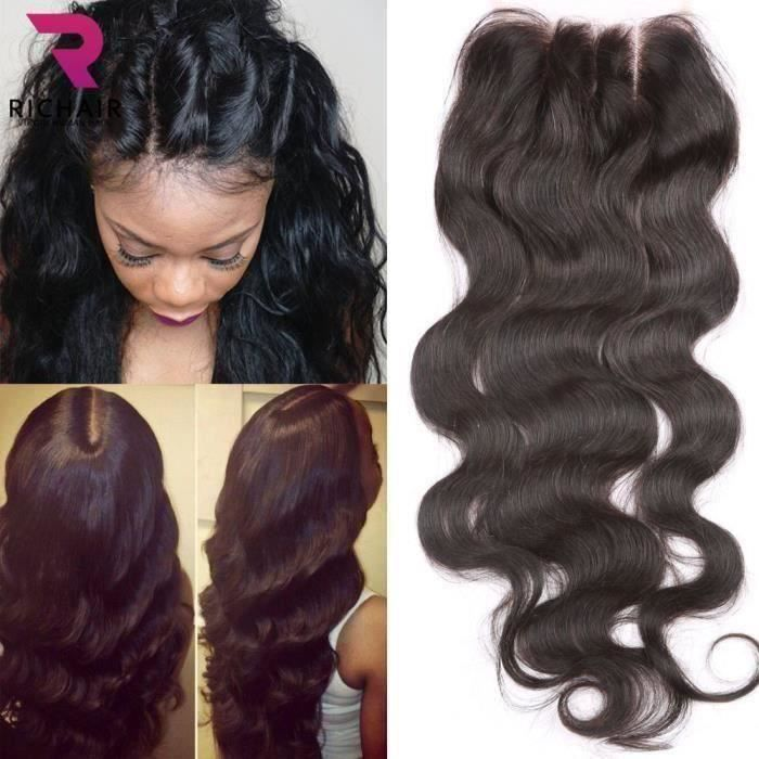 RICHAIR 3 Part Closure Body Wave Virgin Brazilian Hair 130% Density Lace Closure Natural Hair Color Bleached Knots With Baby Hair
