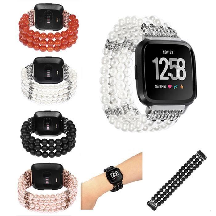 bracelet de montre vendu seul Cristal de luxe Trois Perles Perles Rondes Bande De Montre Bracelet Pour Fitbit Versa