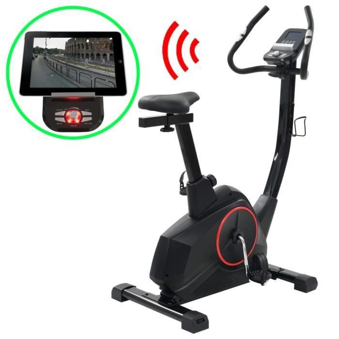 Vélo d'appartement magnétique - Masse d'inertie 12 kg - écran LCD Bluetooth 4.0 - 97 x 57 x 130 cm - Noir