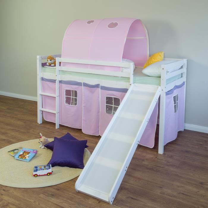 Lit superposé enfant toboggan, échelle et tunnel rose