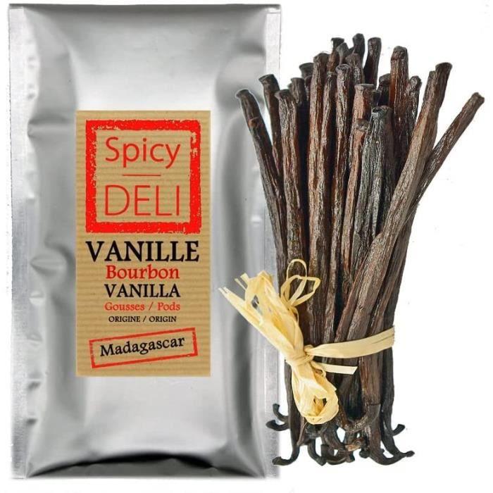 10 Gousses de vanille noire de MADAGASCAR(taille des gousses : 12-14 cm)Qualité : Gourmet