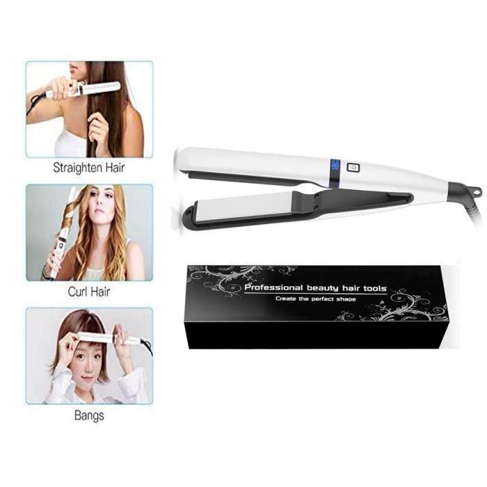 Fer à Lisser,Cheveux et Boucler Professionel 2 en 1, Ecran LCD numérique160℃- 230℃
