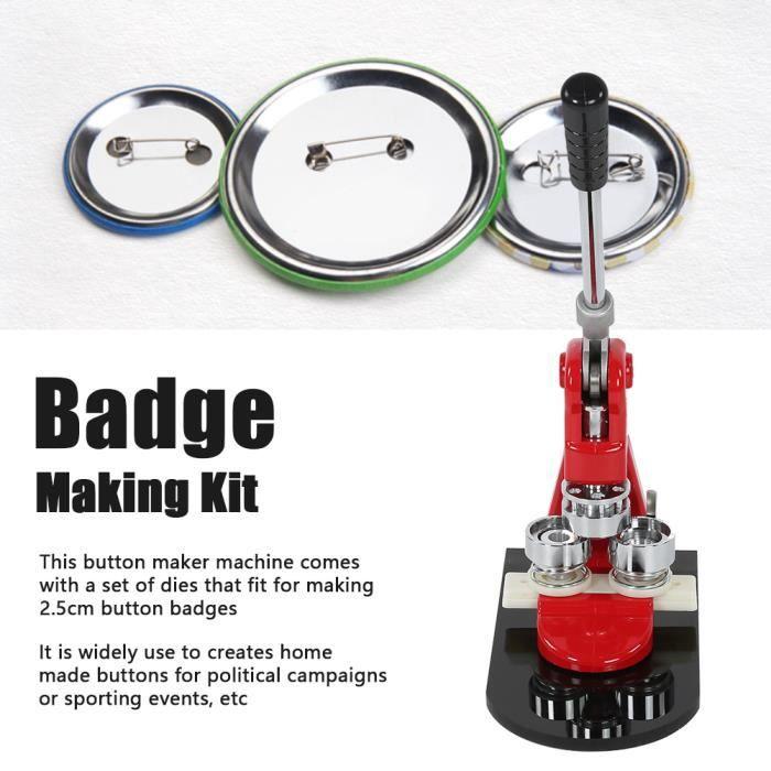 Professionnel 25mm Machine à Badges avec 1000 Sets de Badges Personnalisable Press Button Maker Bricolage -ZOO