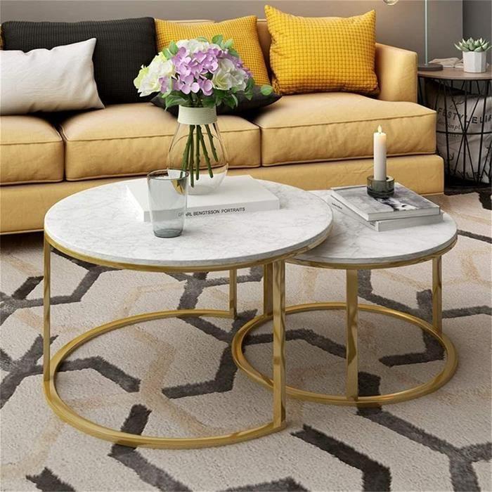 KKY-ENTER Tables de bout en marbre- blanc- ensemble de 2- meubles tables à café pour petits espaces-appartement-salon à la mai[370]