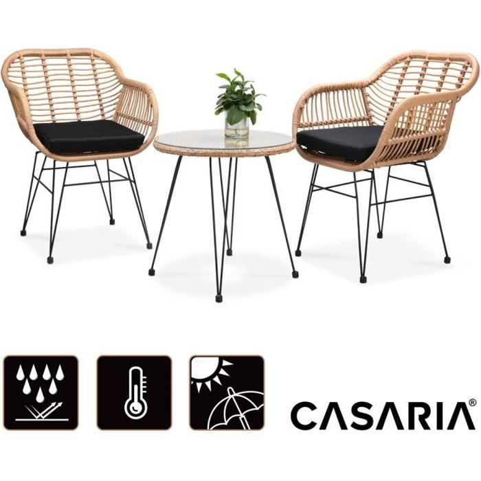 Salon de jardin Bali 3 pièces 1 table 2 fauteuils osier coussin ensemble de table et chaises balcon plateau de table en verre