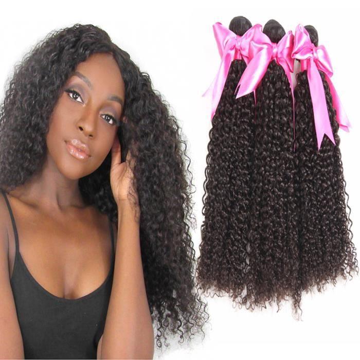 100g 16-18-20- 3 tissage bresilienne virgin hair curly weaving courte cheveux humain