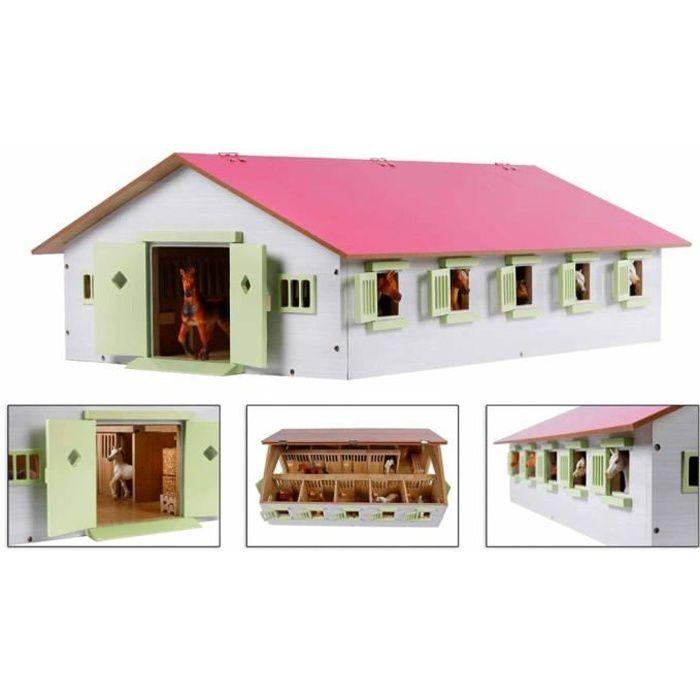 Kids Globe Écurie de chevaux avec 9 box à cheveux 1:232 Rose 610188