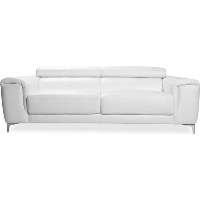 Miliboo - Canapé cuir design trois places avec têtières relax blanc NEVADA - cuir de buffle