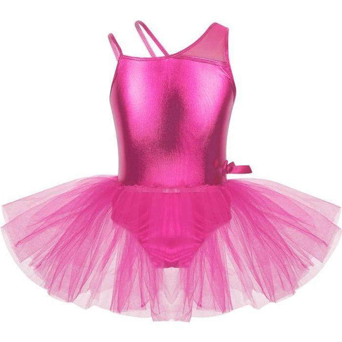 Tutu Danse Classique Enfants Filles Tenue Ballet Costume Brillants Bodysuit Dansewear 4-14 Ans Rose