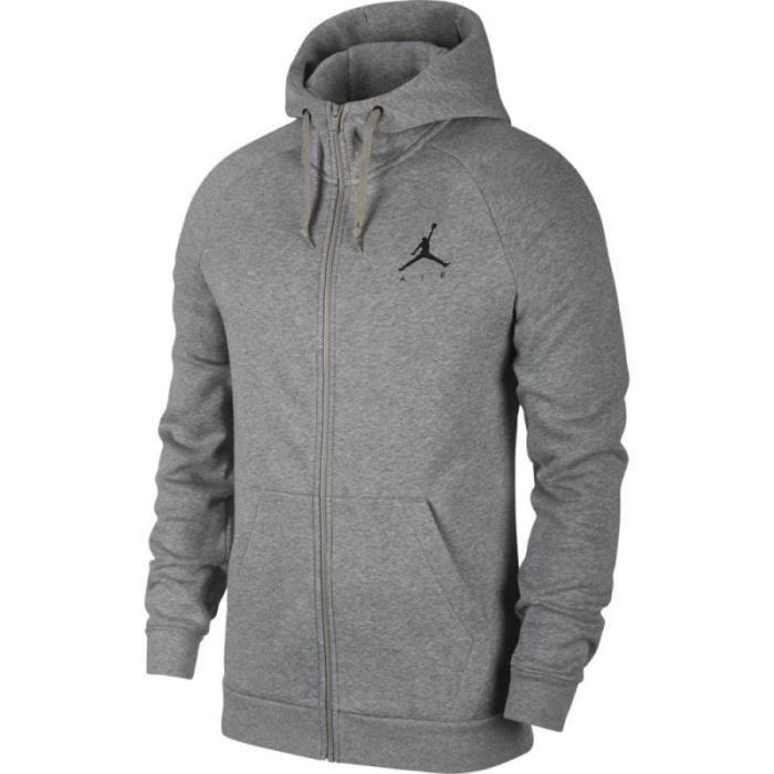 sweat à capuche Zippé Jordan Jumpman Fleece Gris BLK logo pour homme