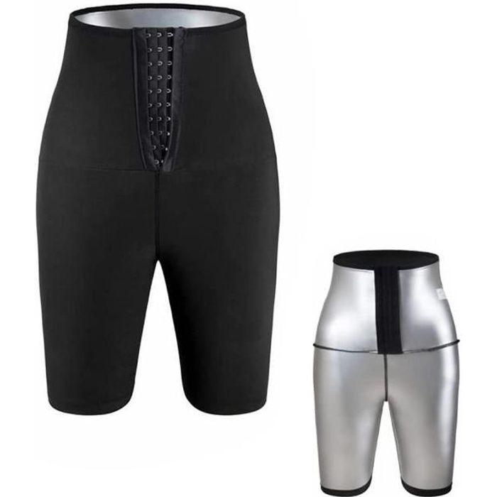 SHORT DE SUDATION Sauna Sweat Shapewear Short Taille Haute pour Femme Perte Poids Pantalon, Contrôle du Ventre Shapewear - Noir