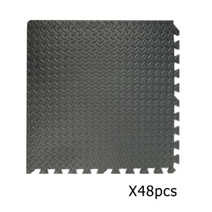 Durable 48 pièces professionnelles imbriquées en mousse Eva tapis tuiles tapis de sol de gymnastique noir