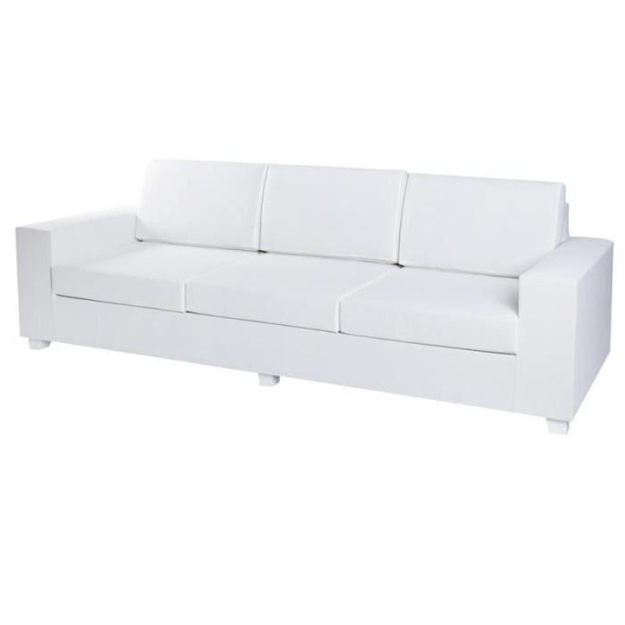 Canapé d'extérieur 3 places Textilène Blanc - BELITUNG - L 250 x l 88 x H 70