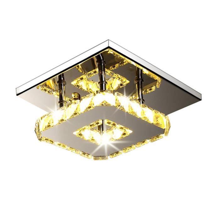 Fuloon Moderne LED Plafonnier Cristal Brillant Miroir Acier Inoxydable Luminaire Lustre Eclairage (Blanc Chaud)