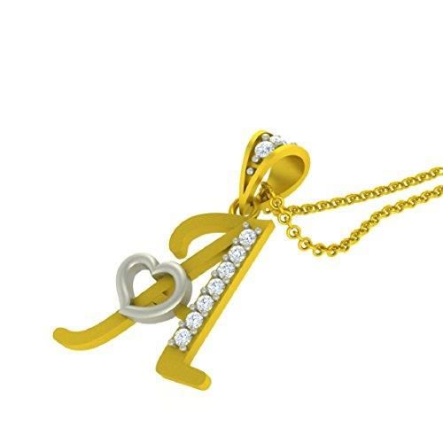 Womens Valentine Collection Alphabet Letter a With Heart With Chain Yellow Gold Plated Pendant NQW5B