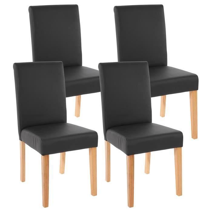 lot de 4 chaises de salle manger simili cuir noir m t. Black Bedroom Furniture Sets. Home Design Ideas