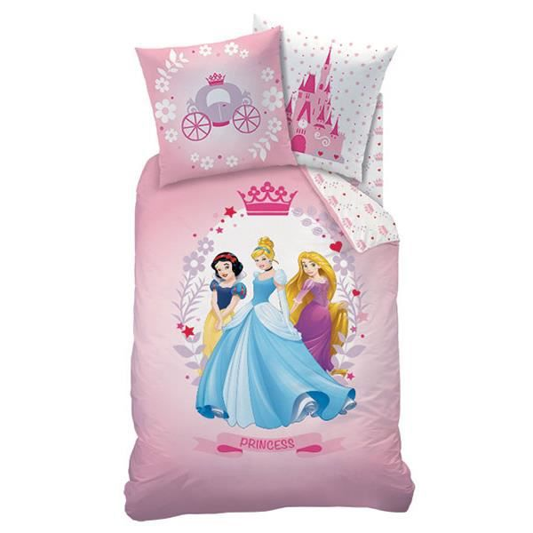 disney princess flanelle housse de couette 140x200 cm 1 taie 60x70 cm rose achat. Black Bedroom Furniture Sets. Home Design Ideas