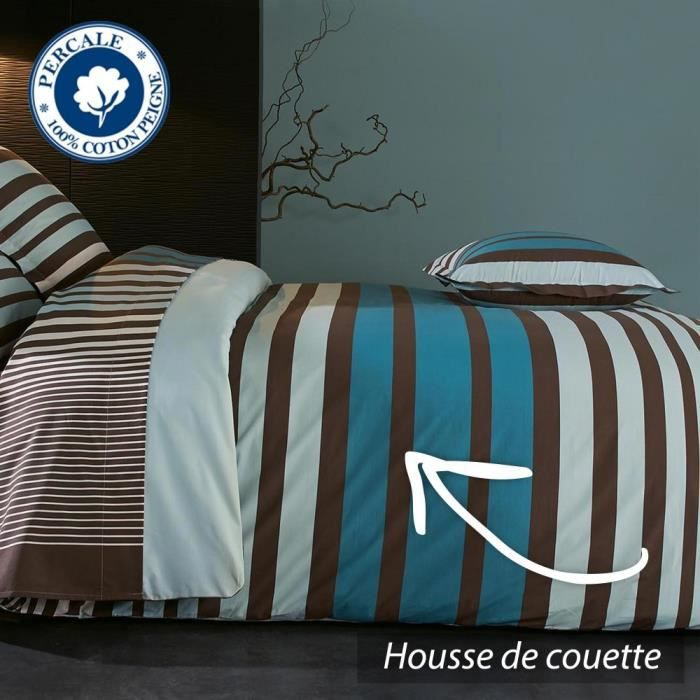 housse de couette 240x220 cm percale pur coton stripe bleu achat vente housse de couette. Black Bedroom Furniture Sets. Home Design Ideas