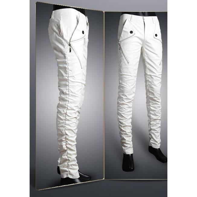 pantalon homme en cuir synth tique blanc blanc blanc achat vente pantalon cdiscount. Black Bedroom Furniture Sets. Home Design Ideas