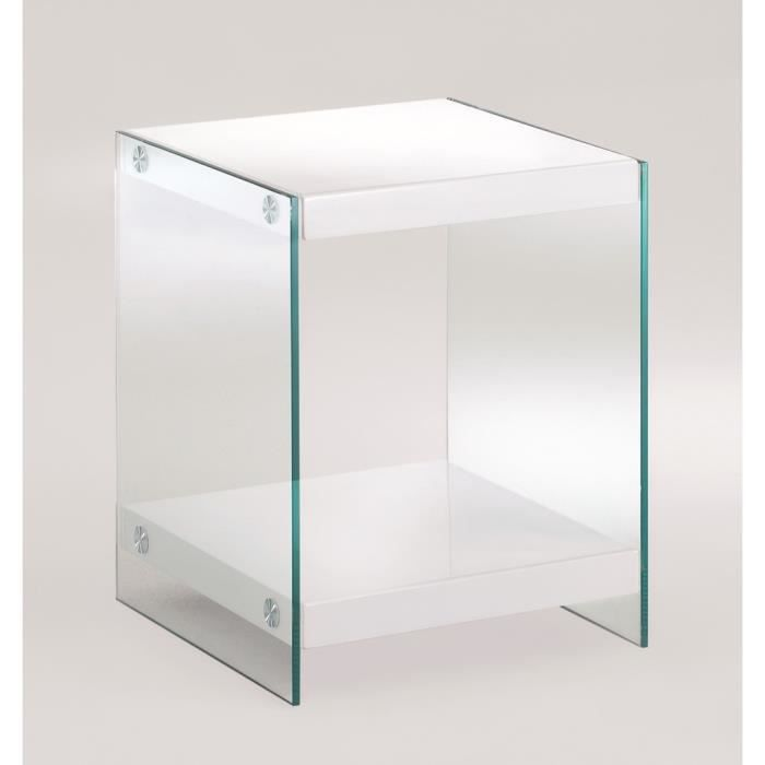 Table d 39 appoint tellus laqu blanc achat vente table d - Table de chevet verre ...