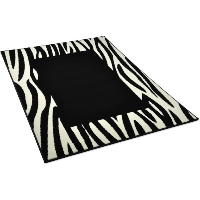 tapis salon zebre carre noir noir universol 1 achat vente tapis cdiscount. Black Bedroom Furniture Sets. Home Design Ideas