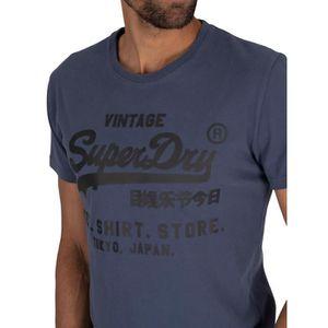 Homme Superdry tramé gaufrer T-shirt noir