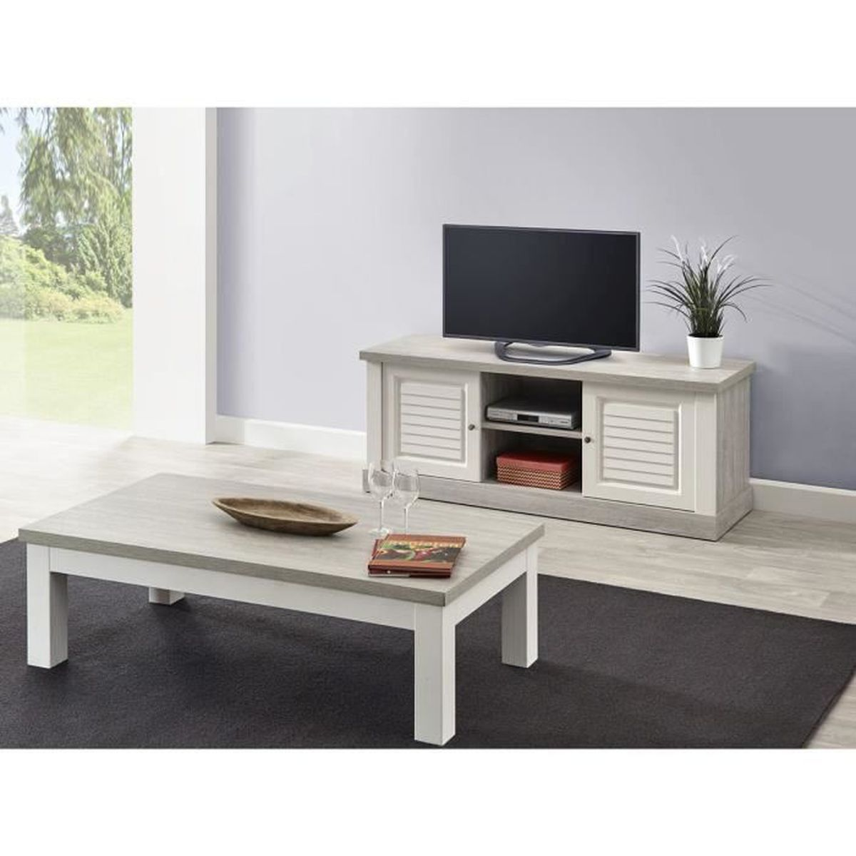 conrad ensemble table basse et meuble tv blanc achat. Black Bedroom Furniture Sets. Home Design Ideas