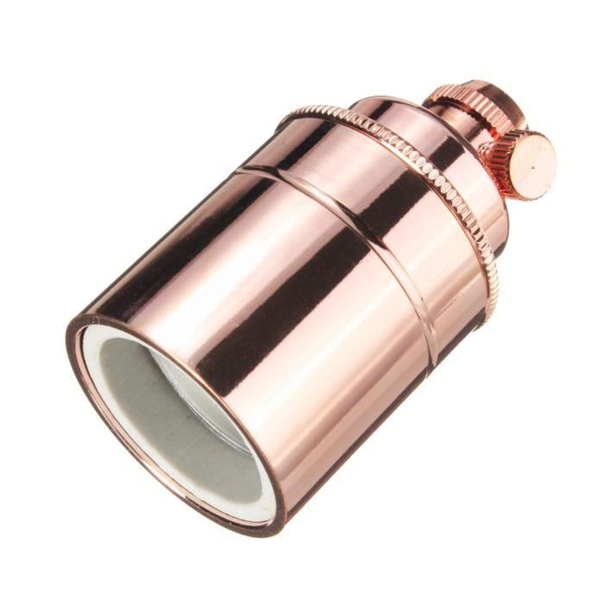 E27 Douille Ampoule /à Interrupteur en Cuivre Support de Lampe Vintage Or Rose