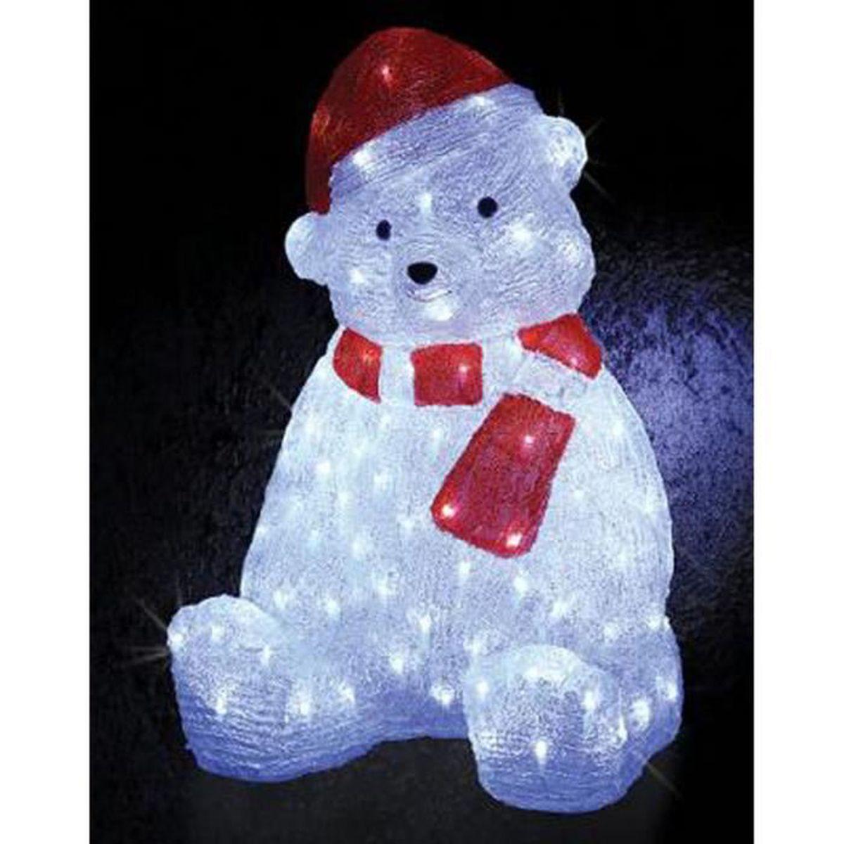 Ours Lumineux Noel Guirlande de noël lumineuse d'extérieur ours blanc 120 LED   H58
